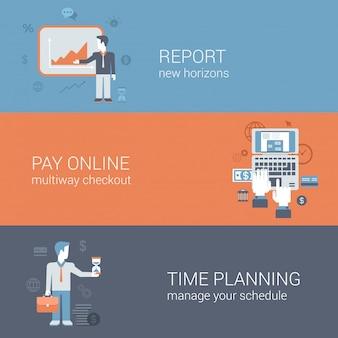 Bericht präsentation, online-zahlung im internet bezahlen, zeitplanung geschäftstechnologie konzepte flache design-illustrationen gesetzt.