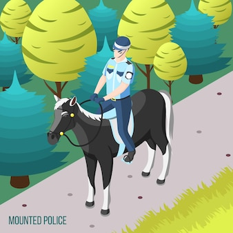Berittene polizei isometrisch mit polizisten, die den stadtpark zu pferd patrouillieren