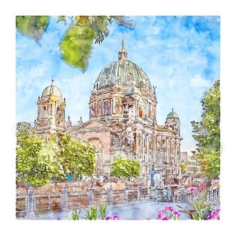 Berlin deutschland aquarellskizze handgezeichnete illustration