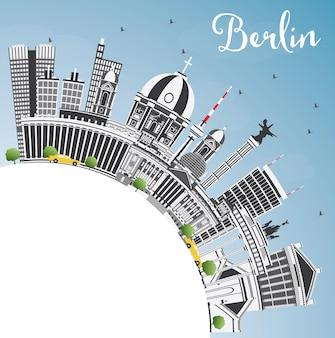 Berlin deutschland city skyline mit grauen gebäuden, blauem himmel und textfreiraum. vektor-illustration. geschäftsreise- und tourismuskonzept mit historischer architektur. berliner stadtbild mit wahrzeichen.