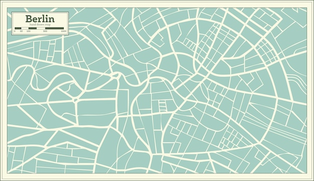 Berlin deutschland karte im retro-stil. vektor-illustration.