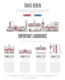 Berlin reisen infografiken im linearen stil