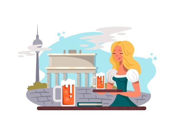 Berliner hauptstadt von deutschland. blondes mädchen mit glas bier. vektorillustration