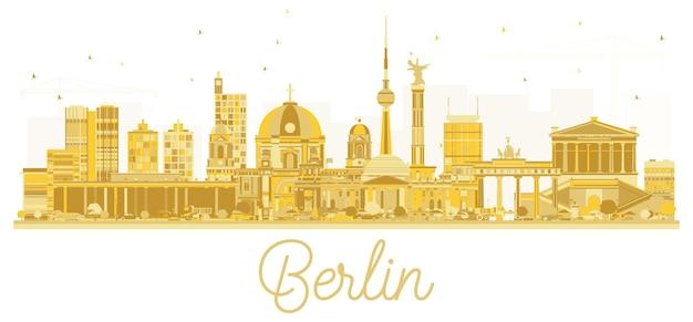 Berliner skyline goldene silhouette. vektor-illustration. stadtbild mit wahrzeichen. berlin isoliert auf weißem hintergrund.