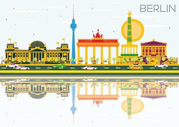 Berliner skyline mit farbgebäuden, blauem himmel und reflexionen. vektor-illustration. geschäftsreise- und tourismuskonzept mit historischer architektur. bild für präsentationsbanner-plakat und website.