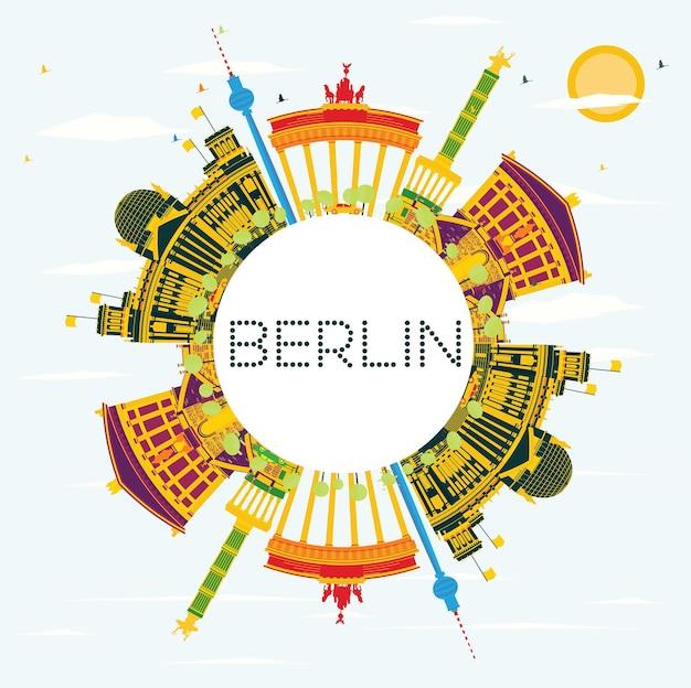 Berliner skyline mit farbgebäuden, blauem himmel und textfreiraum. vektor-illustration. geschäftsreise- und tourismuskonzept mit historischer architektur. bild für präsentationsbanner-plakat und website.