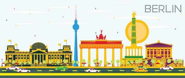 Berliner skyline mit farbigen gebäuden und blauem himmel. vektor-illustration. geschäftsreise- und tourismuskonzept mit historischer architektur. bild für präsentationsbanner-plakat und website.