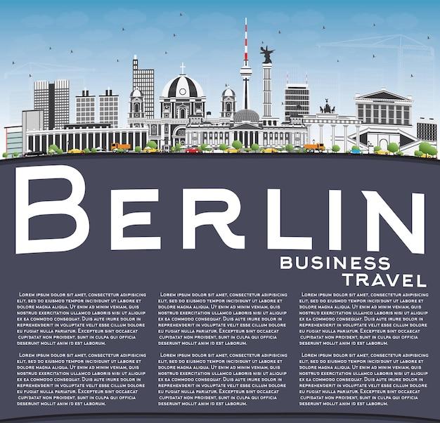 Berliner skyline mit grauen gebäuden, blauem himmel und textfreiraum. vektor-illustration. geschäftsreise- und tourismuskonzept mit historischer architektur. bild für präsentationsbanner-plakat und website.
