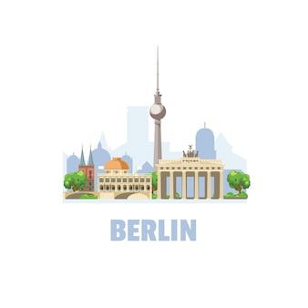 Berliner skyline. stadtbild mit berühmten architektonischen gebäuden