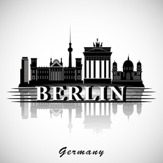 Berliner skyline. vektorstadtschattenbild.