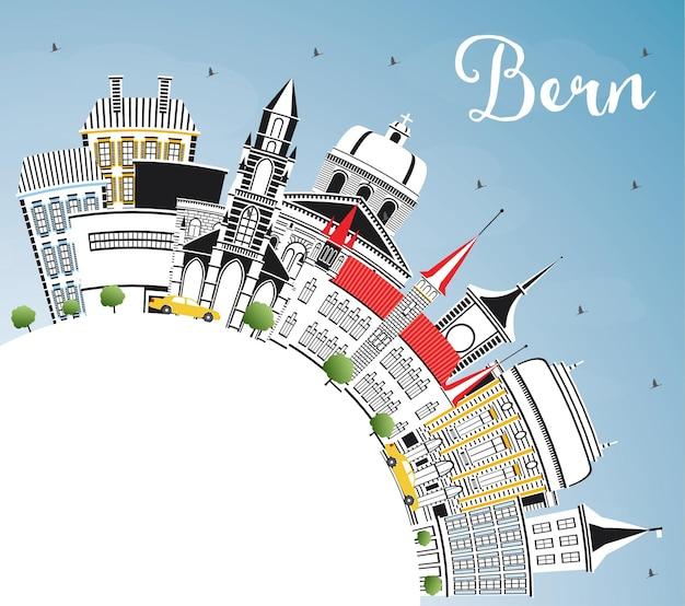 Bern schweiz city skyline mit farbgebäuden, blauem himmel und textfreiraum. vektor-illustration. geschäftsreise- und tourismuskonzept mit historischer architektur. berner stadtbild mit wahrzeichen.