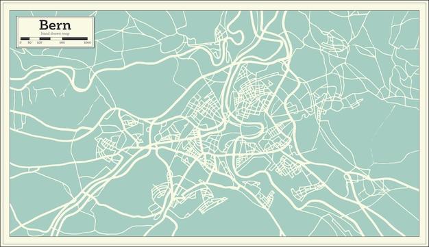 Bern schweiz karte im retro-stil. vektor-illustration. übersichtskarte.