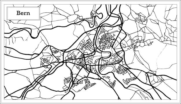 Bern schweiz karte in schwarz-weiß-farbe. vektor-illustration. übersichtskarte.