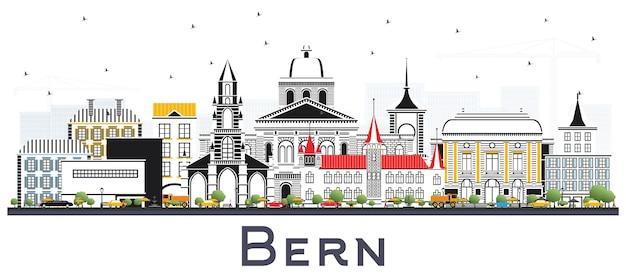 Bern schweiz stadt skyline mit farbgebäuden auf weiß isoliert. berner stadtbild mit sehenswürdigkeiten.