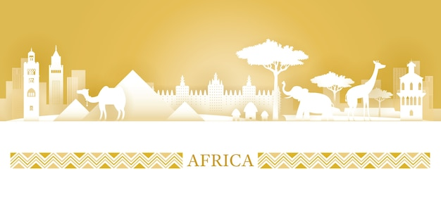 Berühmte afrikanische wahrzeichenillustrationen