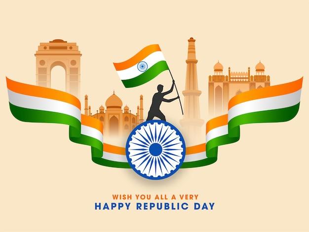 Berühmte denkmäler indiens mit schattenbildmann, der indische flagge hält