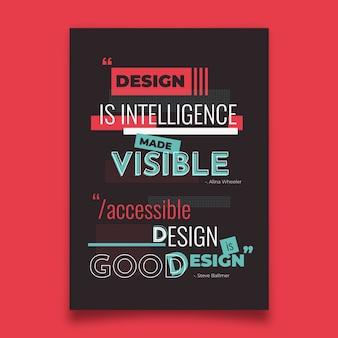 Berühmte desiign zitiert typografisches plakat