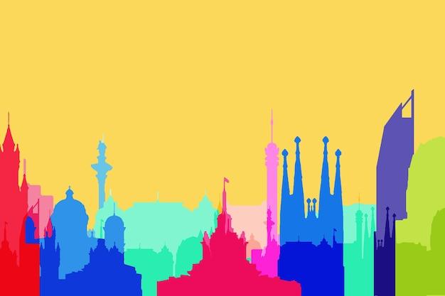 Berühmte gebäude weltweit farbenfrohen stil