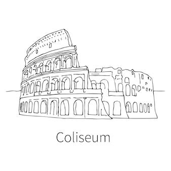 Berühmte kolosseum-zeichnungsskizzenillustration in rom. vektor-illustration