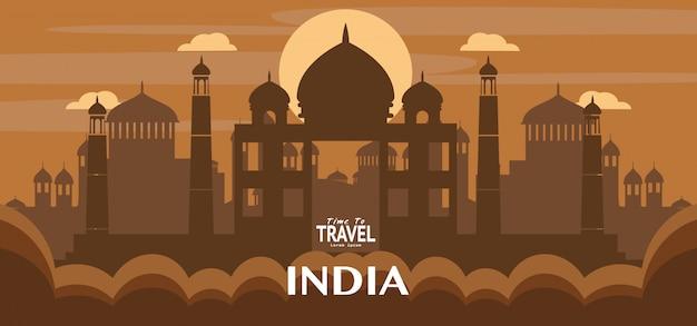 Berühmte markierungsillustration der reise indiens