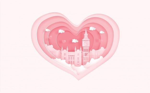 Berühmte marksteine londons, england im liebeskonzept mit herzform. valentinskarte