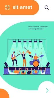 Berühmte rockband, die musik spielt und an der flachen vektorillustration der bühne singt