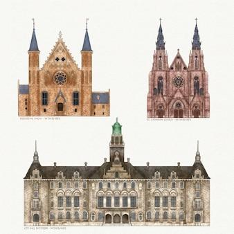 Berühmte sammlung architektonischer wahrzeichen