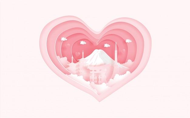 Berühmte sehenswürdigkeiten tokyos, japan im liebeskonzept mit herzform. valentinskarte