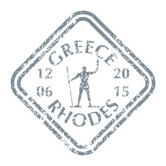 Berühmte statue von rhodos auf der griechischen insel auf grunge-briefmarke. vektor-illustration