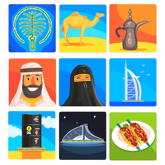 Berühmte touristische attraktionen in den vereinigten arabischen emiraten. traditionelle tourismus-symbole des arabischen landes einschließlich essen, architektur und religiöser gewohnheiten