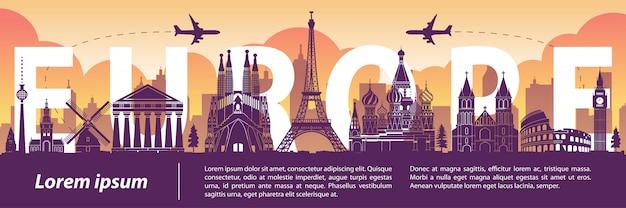 Berühmte wahrzeichen-schattenbildart europas, text innerhalb