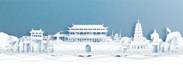 Berühmter grenzstein xians, chinas, panoramapostkarte und reise