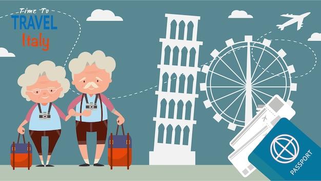 Berühmter markstein für architekturanblick der reise ältere paartouristenreise italien auf der weltzeit, konzeptvektorillustration zu reisen.