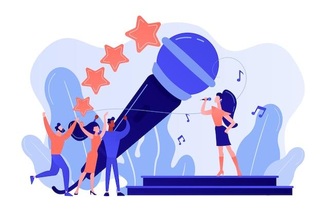 Berühmter popsänger in der nähe von riesigen mikrofonsingen und winzigen leuten, die beim konzert tanzen. popmusik, popmusikindustrie, top-chart-künstler-konzept. isolierte illustration des rosa korallenblauvektors