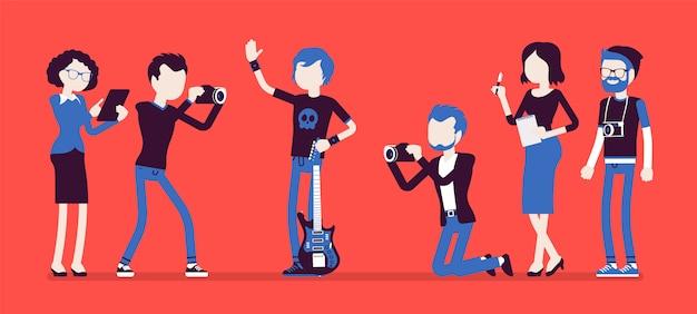Berühmter rockstar und journalisten