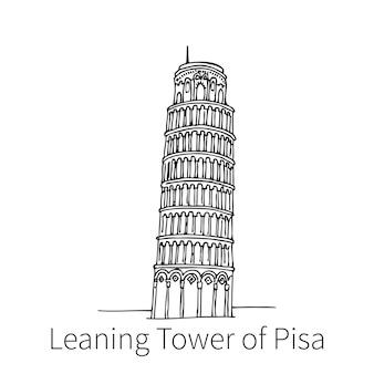 Berühmter schiefer turm von pisa, der skizzenillustration in italien zeichnet. vektor-illustration