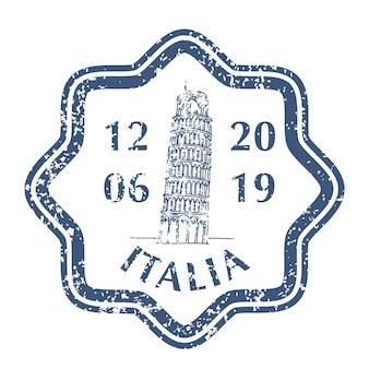 Berühmter schiefer turm von pisa in italien auf grunge-briefmarke. vektor-illustration