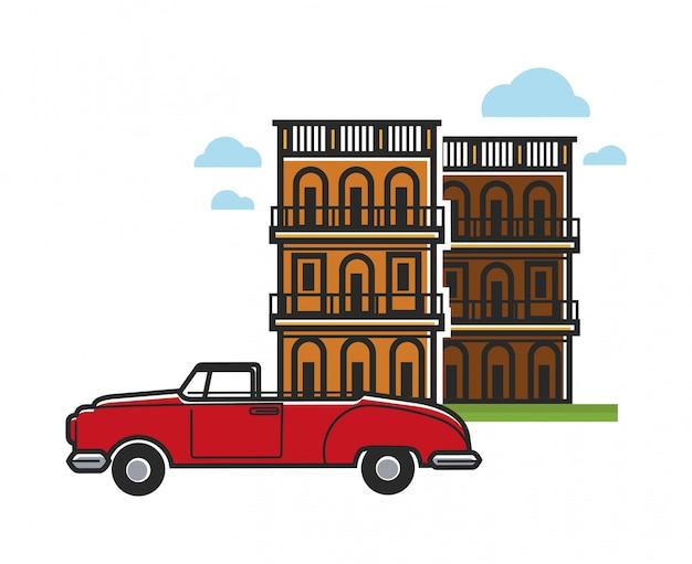 Berühmtes auto und architektur der kuba-reise