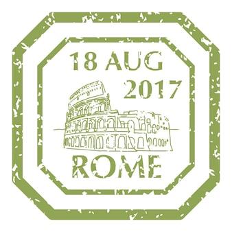 Berühmtes kolosseum in rom auf grunge-briefmarke. vektor-illustration