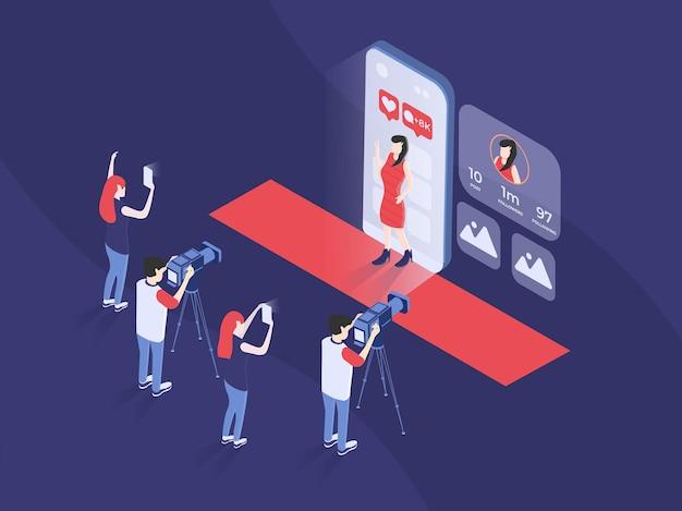 Berühmtheit oder influencer, die auf dem roten teppich spazieren gehen und das publikum isometrisches 3d-vektorbild begrüßen