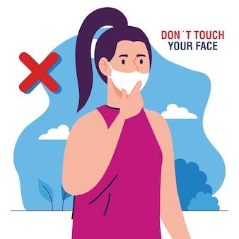 Berühren sie nicht ihr gesicht, frau mit gesichtsmaske