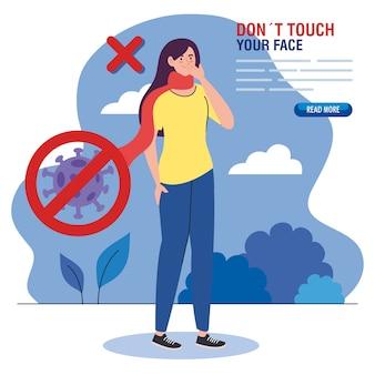 Berühren sie nicht ihr gesicht, frau mit schal im freien, vermeiden sie es, ihr gesicht zu berühren, coronavirus covid19 prävention