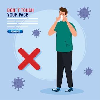 Berühren sie nicht ihr gesicht, junger mann mit atemschutz, vermeiden sie es, ihr gesicht zu berühren, coronavirus covid19 prävention