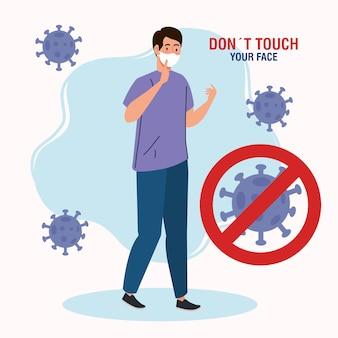 Berühren sie nicht ihr gesicht, mann mit atemschutz, vermeiden sie es, ihr gesicht zu berühren, coronavirus covid19 prävention
