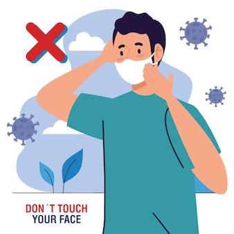 Berühren sie nicht ihr gesicht, mann mit gesichtsmaske im freien, vermeiden sie es, ihr gesicht zu berühren, coronavirus covid19 prävention