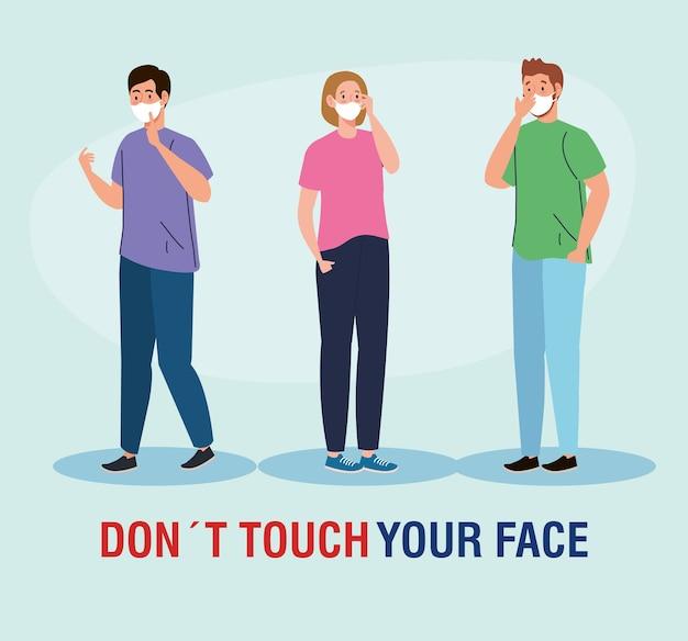 Berühren sie nicht ihr gesicht, personen mit gesichtsmaske