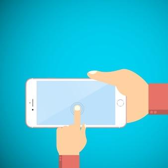 Berühren smartphone auf blauem hintergrund