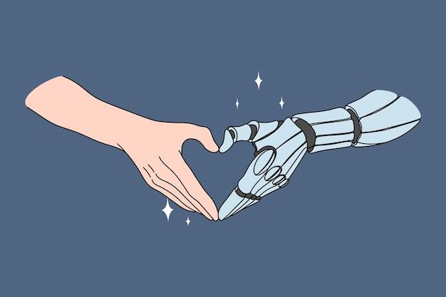Berühren von menschen- und roboterhänden. vektorkonzeptillustration der zukünftigen erfolgreichen zusammenarbeit zwischen menschlicher arbeit und künstlicher intelligenz.