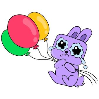 Berührter hase, der tränen vergießt und geburtstagsballons trägt, vektorillustrationskunst. doodle symbolbild kawaii.