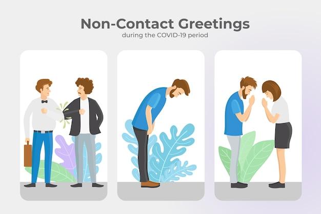 Berührungslose grüße während des coronavirus